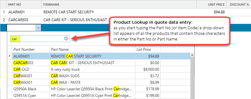 Product lookup in quotes